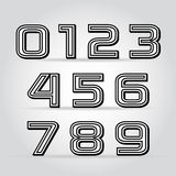 Vector set retro style black numbers Royalty Free Stock Photos
