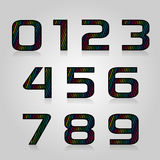 Vector set retro style color numbers Stock Image