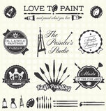 Vector Set: Retro Style Painter Labels and Icons stock illustration
