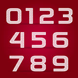 Vector set retro style white Numbers. With lines Royalty Free Stock Photography