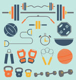 Vector Set: Retro StyleGym Equipment Objects and I. Collection of flat style icons and silhouettes of gym equipment Royalty Free Stock Images