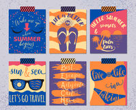 Vector set of retro summer cards. Beautiful vintage summers posters with flip-flops, palm, swimsuit, sunset, sunglass Royalty Free Stock Photography