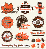 Vector Set: Retro Thanksgiving Labels. Collection of vintage style Thanksgiving Day labels and stickers Royalty Free Stock Photo