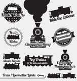 Vector Set: Retro Train Labels and Stickers. Collection of retro style train and locomotive labels and icons Stock Image