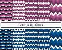 Vector set of 10 blue and purple retro vintage chevron zigzag seamless pattern for wallpaper, fabric, wrapping, textile printing stock illustration