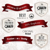 Vector set of retro vintage ribbons and badges. Royalty Free Stock Images