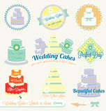 Vector Set: Retro Wedding Cake Labels and Stickers. Collection of vintage wedding cake labels and stickers Stock Photography