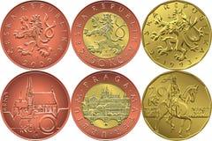 Vector Set reverse and obverse czech money coin Stock Photos
