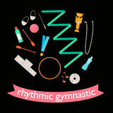 Vector set of rhythmic gymnastic elements. Royalty Free Stock Image