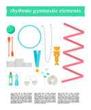 Vector set of rhythmic gymnastic elements. Royalty Free Stock Photo