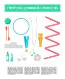 Vector set of rhythmic gymnastic elements. Royalty Free Stock Photo