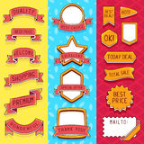 Vector set of ribbons and frames. With inscriptions on red, yellow and blue background. Hand draw line art design for web, site, advertising, banner, poster Stock Photos
