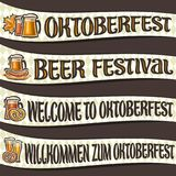 Vector set of ribbons for Oktoberfest. 4 curved banners with maple leaf and sausages, glassware with alcoholic beverages, labels for beer festival with Royalty Free Stock Photo