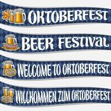 Vector set of ribbons for Oktoberfest. 4 curved banners with maple leaf and sausages, glassware with alcoholic beverages, labels for beer festival with Royalty Free Stock Images