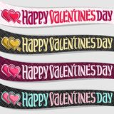 Ribbons for St. Valentine`s Day. Vector set of ribbons for St. Valentine`s Day, 4 curved banners with pink hearts pierced arrow, original handwritten font for Stock Images