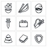 Vector Set of Robin Hood Icons. Archer, Bow and Arrow, Poor Man, Sword, Treasure, Quiver, Forest, Book, Shield. Stock Images