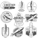 Vector set of rocket launch labels in vintage style.  Stock Photo