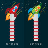 Vector set rocket space The colorful hand and arm Royalty Free Stock Images