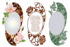 Vector set. Romantic label with flowers. Royalty Free Stock Photography
