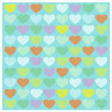 Vector set Romantic pattern with Yellow orange green blue pink heart Royalty Free Stock Photography