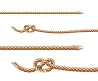 Vector set of ropes, jute or hemp twisted cords. Vector set of realistic brown ropes, jute or hemp twisted cords with loops and knots, isolated on white stock illustration