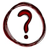 Vector Set of Red Sketch Question Mark in Doodle Circle stock illustration