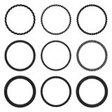 Vector set of round black monochrome rope frame. Royalty Free Stock Photo