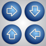Vector set of round blue arrow buttons with paper cut image Stock Photo