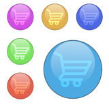 Vector set of round buttons shopping baskets. Stock Photos