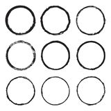 Set round a painted frame 4. Vector set of round frames and borders, painted with an ink brush. Black grunge frame with rough edges isolated on white background Stock Photo