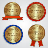 Vector set of round golden badge labels with Stock Images
