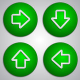 Vector set of round green arrow buttons with paper Stock Images