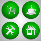 Vector set of round green site icons with paper Royalty Free Stock Photography