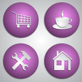 Vector set of round lilac site icons with paper Royalty Free Stock Images