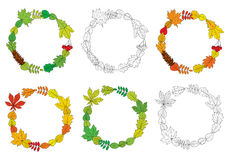 Vector set of round, outline wreaths Royalty Free Stock Image
