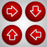 Vector set of round red arrow buttons with paper Stock Photos