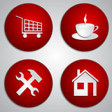 Vector set of round red site icons with paper cut Royalty Free Stock Photos