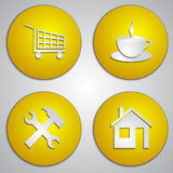 Vector set of round yellow site icons with paper Stock Photography
