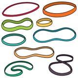 Vector set of rubber bands. Hand drawn cartoon, doodle illustration royalty free illustration