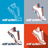 Vector set of running shoe symbols. Sport pictograms. Text RUN on shoe sole Royalty Free Stock Images