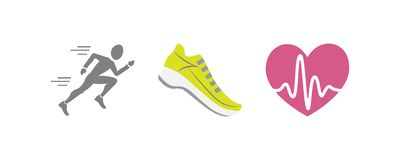Vector set of running sport icons - jogging person, running shoe, beating heart with pusle, - for sport team, runner club, stock image