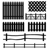 Vector set of rural fences silhouettes Royalty Free Stock Photography
