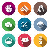 Vector Set of Russia Airborne troops Icons. Soldier, Beret, Bricks, Workout, Punch, Weapon, Landing, Fountain, Flag Stock Image