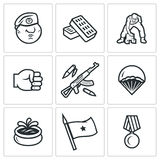 Vector Set of Russia Airborne troops Icons. Warrior, Broken bricks, Machine gun, Parasailing Water Shaft Order Royalty Free Stock Images