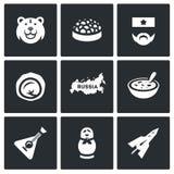 Vector Set of Russia Icons. Bear, Caviar, Soldier, Dumpling, Territory, Cuisine, Balalaika. Stock Image