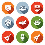 Vector Set of Russia Icons. Bear, Caviar, Soldier, Dumpling, Territory, Cuisine, Balalaika. Stock Photo