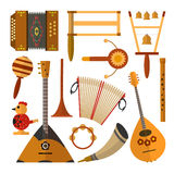 Vector set of Russian folk music instruments in flat style. Vector set of Russian folk music instruments. Flat style design elements, icons isolated on white Royalty Free Stock Photography