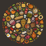 Vector set of Russian food cartoon doodle objects Stock Photography