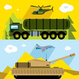 Vector Set of Russian Military Army. Flat style colorful Cartoon illustration. Aircraft, air defense, ground forces in different places Royalty Free Stock Images