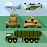 Vector Set of Russian Military Army. Flat style colorful Cartoon illustration. Aircraft, air defense, ground forces. Isolated on a color background Royalty Free Stock Image